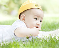 A Chinese baby on grass Royalty Free Stock Image