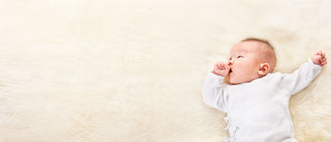 Chinese baby looking away to empty space Royalty Free Stock Images