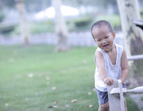 Chinese baby playing on the grassland Stock Image
