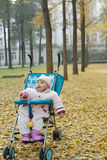 Chinese baby sitting in stroller Royalty Free Stock Photo