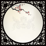 Chinese background. Blossom painting chinese ink style frame Stock Image