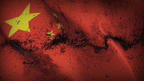 China grunge dirty flag waving on wind. Chinese background fullscreen grease flag blowing on wind. Realistic filth fabric texture on windy day Stock Photo