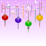Chinese background. Greeting postcard to Chinese New Year. Garland with colorful sky lanterns on background of twilight lilac starry sky. Vector illustration Royalty Free Stock Photos