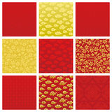 Chinese backgrounds. Set of backgrounds in Chinese pattern. Vector illustration Stock Photography