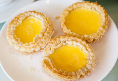 Chinese baked Egg Tart Dim Sum on Plate Royalty Free Stock Image