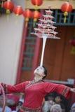Chinese Balancer 6. LOS ANGELES CHINATOWN, CA - SEPTEMBER 14: Chinese balancer, Sahsah, performing at the 2008 Los Angeles Moon Festival royalty free stock photography