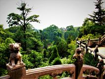 Chinese balcony, lions and forest, architecture and nature royalty free stock photos