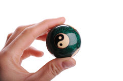 Chinese ball in hand. Chinese ball for meditation in hand isolated stock photos