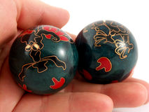 Chinese balls. For relaxation of spirit and body in the hand Stock Photography