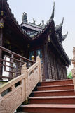 Chinese balustrades with bas-relief and sculptures before pavili Royalty Free Stock Photos