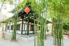 The chinese bamboo garden and house Stock Photography