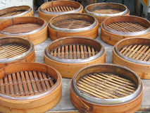 Chinese Bamboo Steamers. Circular shapes with metal rims Royalty Free Stock Images
