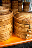 Chinese bamboo steamers. Bamboo steamers at local chinese restaurant Royalty Free Stock Photo