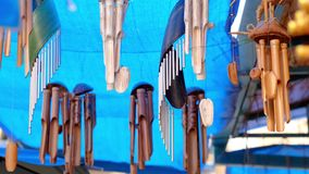 Chinese bamboo wind chimes. Wind hand bells. 4K. stock footage