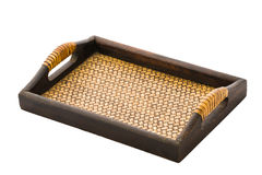 Chinese bamboo woven tray isolated Royalty Free Stock Photo