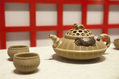 Chinese bambooware teapot Royalty Free Stock Photos