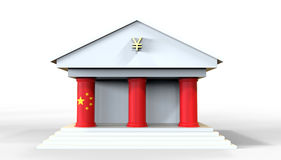 Chinese Bank Building Concept 3D Illustration on a white backgro. Und with the flag integrated into the pillars of the building Stock Images