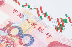 Chinese banknote on the candlestick stock chart Stock Image