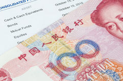 Chinese banknote on the investment portfolio Royalty Free Stock Photography