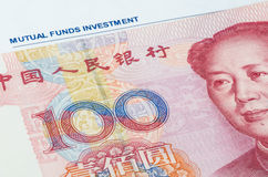 Chinese banknote on the investment portfolio Stock Photo