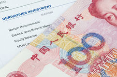 Chinese banknote on the investment portfolio Royalty Free Stock Photos