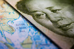 Chinese banknote and map South China Sea Stock Photos