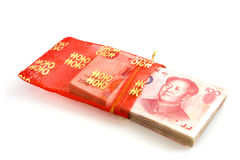 Chinese banknotes in red purse Stock Photo