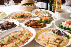 Chinese banquet course. A Chinese banquet full course, include appetizer, main dish, soup, fruit and dessert Royalty Free Stock Photo