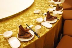 Chinese banquet table setting. stock images