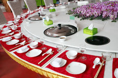 Chinese banquet table setting royalty free stock image