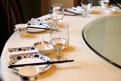 Chinese banquet table setting. stock image