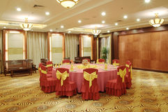 Chinese banqueting hall. In the hotel Stock Photography