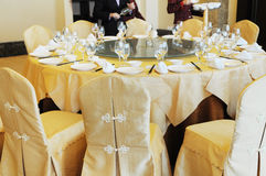 Chinese banquette table setting Stock Photos