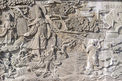 Chinese bas-hulp, grijze steen, Royalty-vrije Stock Afbeeldingen