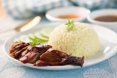 Chinese BBQ duck over steamed rice Royalty Free Stock Images