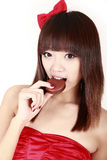 Chinese beauty eating pie Royalty Free Stock Photo