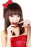 Chinese beauty eating pie Stock Photography