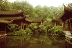 Chinese beauty picture. China's beautiful scenery, green plants and the construction of Chinese constitute a beautiful picture Stock Photography