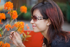 Chinese beauty woman. With flower Royalty Free Stock Images