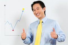 Chinese Bedrijfsleider die winstvoorspelling voorstellen stock afbeelding