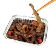 Chinese Beef And Black Bean Sauce In A Foil Take Away Tray Royalty Free Stock Photo