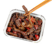 Chinese Beef And Black Bean Sauce In A Foil Take Away Tray Royalty Free Stock Photography