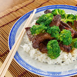 Chinese beef and broccoli on rice Stock Photo