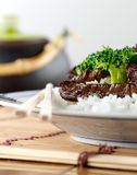 Chinese beef and broccoli on rice closeup Stock Photo
