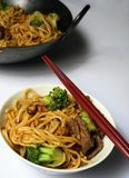 Chinese Beef chow mein wok  Stock Image