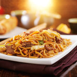 Chinese beef lo mein Royalty Free Stock Photo