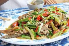Chinese beerfishschotel stock afbeeldingen