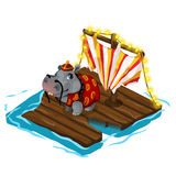 Chinese behemoth crosses river on wooden raft. Chinese behemoth representative crosses the river on a wooden raft. Stylized animal characters. Vector Royalty Free Stock Photography