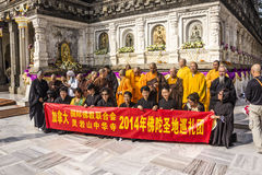 Chinese believers at mahabodhi temple Royalty Free Stock Photos