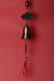 Chinese bell for feng shui. Chinese metal feng shui bells with red tassels stock photos